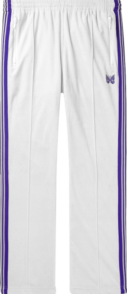Needles White Velour And Purple Stripe Trackpants