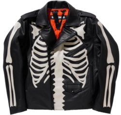 Neighborhood X Vlone Bone Print Leather Jacket