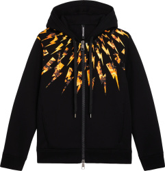 Neil Barrett Flame Lightning Bolt Print Black Hoodie