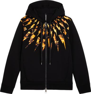 Neil Barrett Flame Lightning Bolt Print Black Hoodie