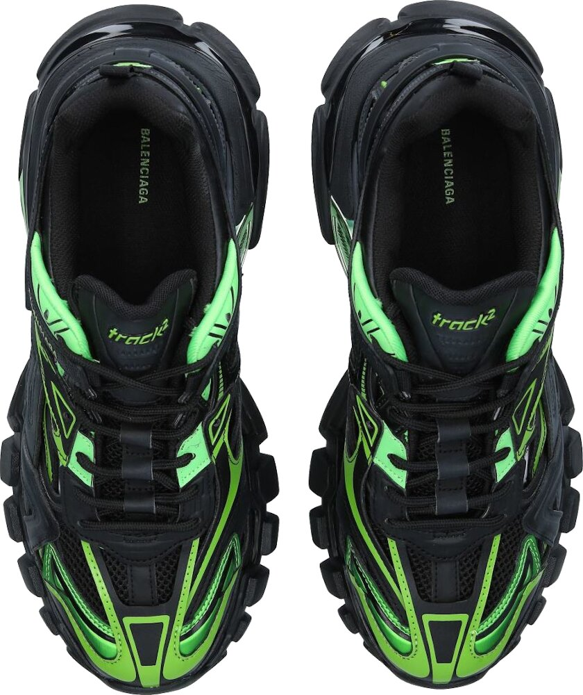 Black & Green Track 2 Sneakers