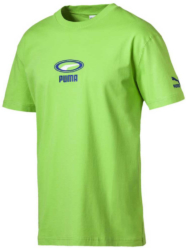 Neon Green Puma T Shirt With Blue Embroidered Logo Worn By Meek Mill