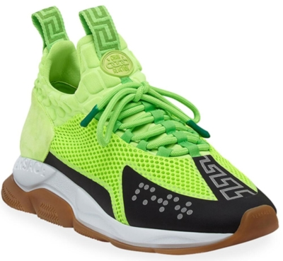 Neon Green Versace Chain Reaction Sneakers