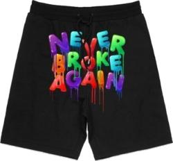 Never Broke Again Drip Print Black Shorts