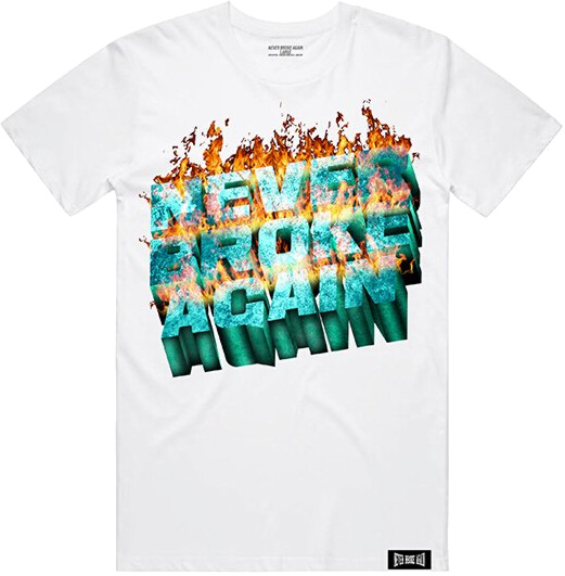 Never Broke Again Flame Logo Print White T Shirt