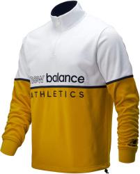 New Balance White Yellow Logo Embroidered Quarter Zip