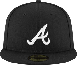 New Era Black Atlanta Braves Fitted Hat