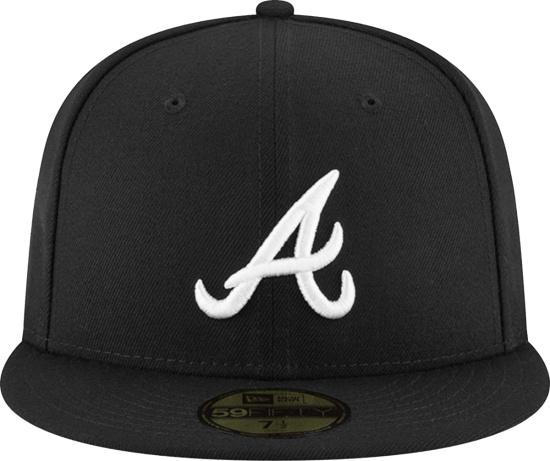 New Era Black Atlanta Braves Fitted Hat