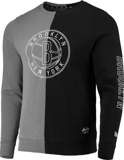 New Era Brooklyn Nets Split Grey Abnd Black Sweatshirt