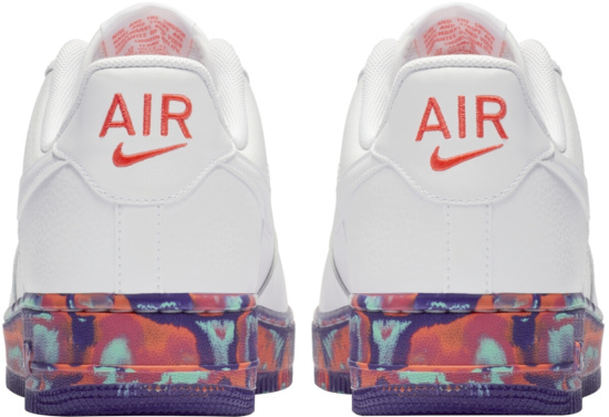 Nike Air Force 1 Low White And Multicolor Marrbled Sole