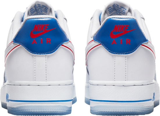 Nike Air Force 1 Low White Blue Gradient Tie Dye And Red Outline Sneakers