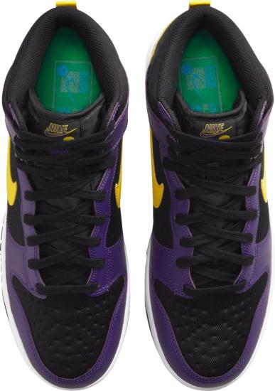 Nike Dunk High Black Purple And Yellow