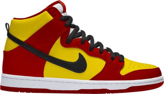 Nike Dunk High Red And Yellow Orchard Street