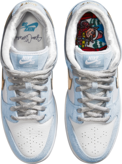 Nike Dunk Sb Low White Leather Blue Suede And Metallic Gold Sneakers
