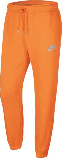 Nike Orange And Reflective Logo Print Joggers