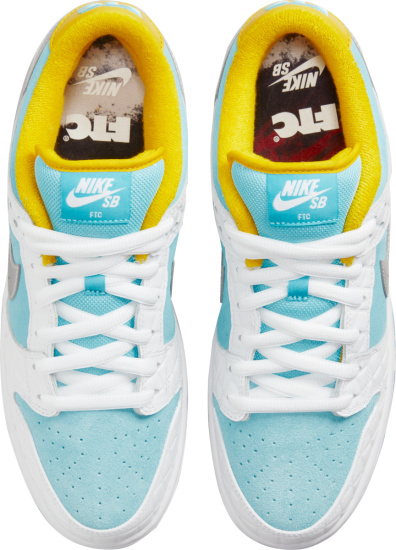 Nike Sb Dunk Low Pro Quilted White Light Blue And Yellow Sneakers
