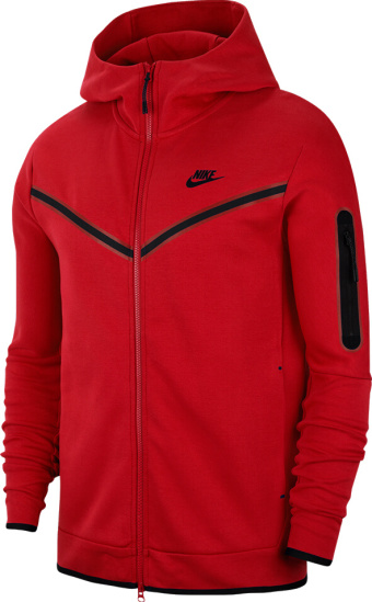 Nike Sportswear Red Tech Zip Hoodie Cu4489 657