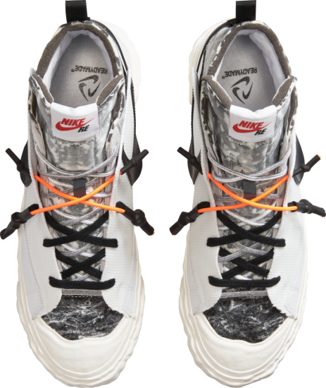 Nike White And Grey Camo Reconstructed Sneakers