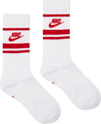 Nike White Red Striped Socks