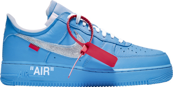 Nike X Off White Air Force 1 Low Light Blue Mca Sneakers