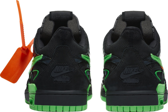 Nike X Off White Black And Neon Green Low Top Sneakers
