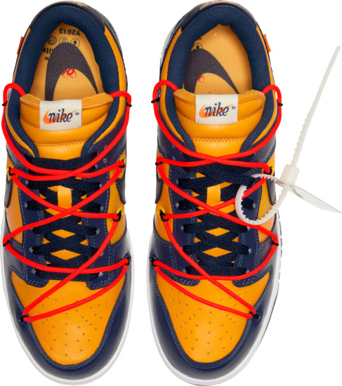 Nike X Off White Dunk Low Top Blue And Yellow With Neon Orange Bungee Cords