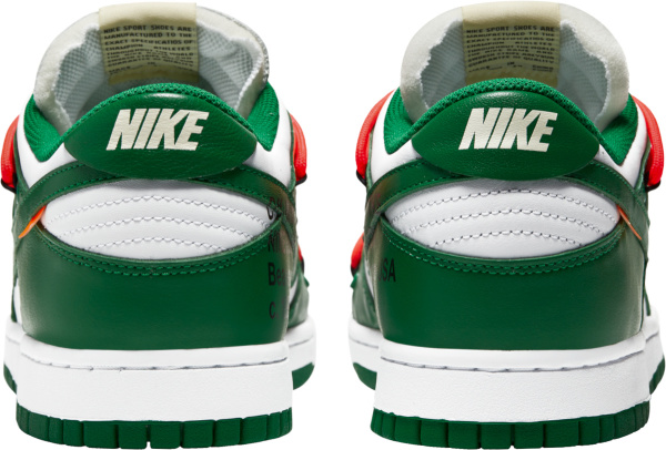 Nike X Off White Dunk Low Top Green And White Sneakers