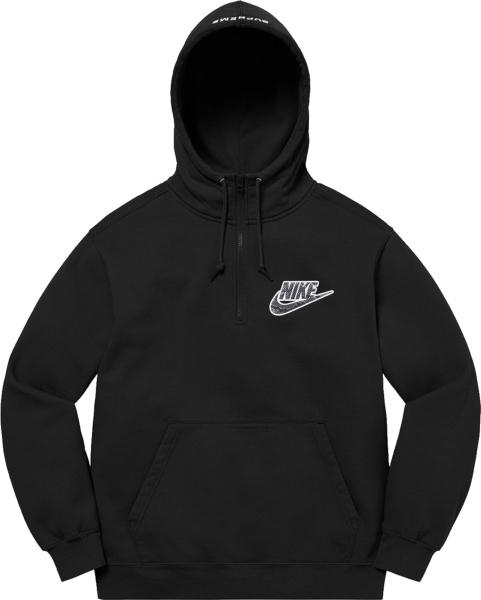 Nike X Supreme Black Half Zip Hoodie