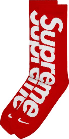Nike X Supreme Red And White Logo Socks