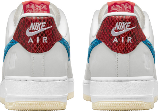 Nike X Undefeated Air Force 1 Low White Grey Blue And Red