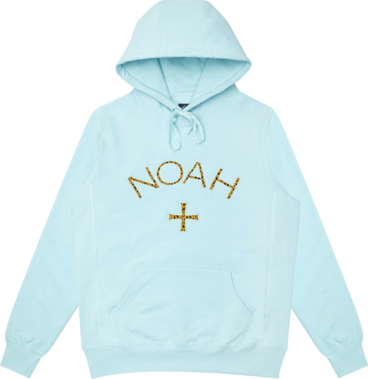 Noah Nyc Light Blue Cheetah Logo Hoodie