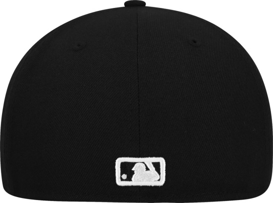 Nyy Black And White Outline Logo Fitted Hat