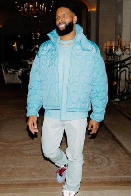 Odell Beckham Jr Wearing A Louis Vuitton Light Blue Monogram Quilted Jacket And Suede High Top Sneakers