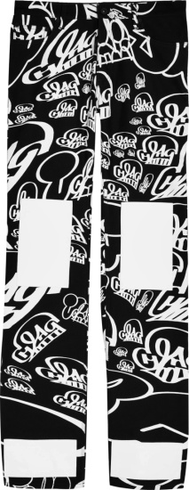 Of White X Katsu Black And Allover White Logo Offkat Pants
