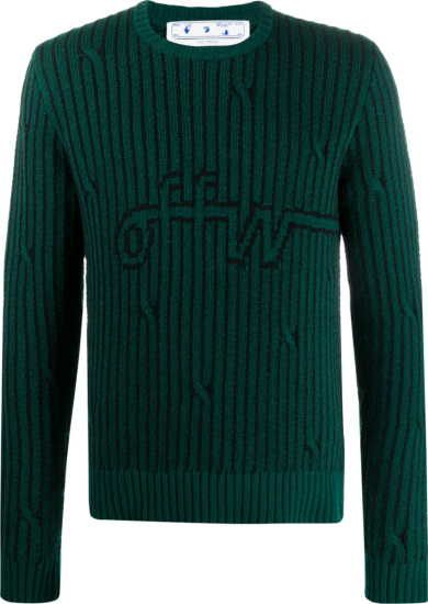 Off White Green Black Stiriped Sweater