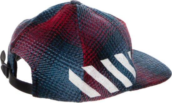 Off White Plaid Wool Diagonals Cap