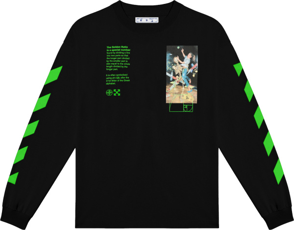 Off White Black And Green Golden Ratio Long Sleeve T Shirt