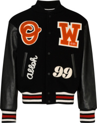 Off White Black And Orange Barrel Logo Embroidered Varsity Jacket