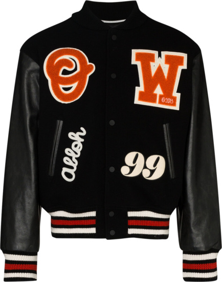 Off White Black And Orange Barrel Logo Embroidered Varsity Jacket