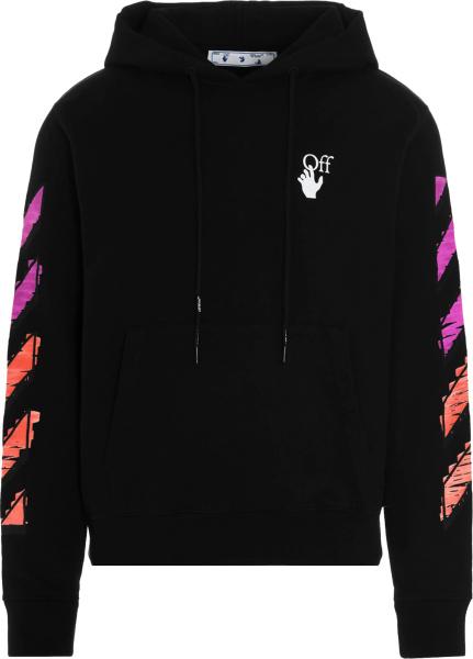 Off White Black And Pink Purple Orange Gradient Marker Hoodie