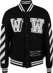 Off White Black And White Ww Varsity Jacket