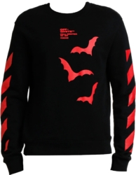 Off White Black Bats Print Red Shirt