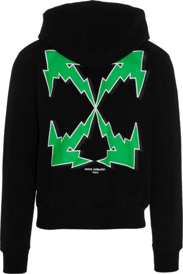 Off White Black Bolt Arrows Logo Hoodie
