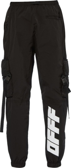 Off White Black Cargo Parachute Pants