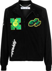 Off White Black Corduroy And Green Arrow Moto Jacket