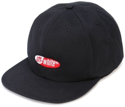 Off White Black Hat With Red Embroidered Logo