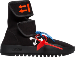 Off White Black High Top Strap Sneaker Boots