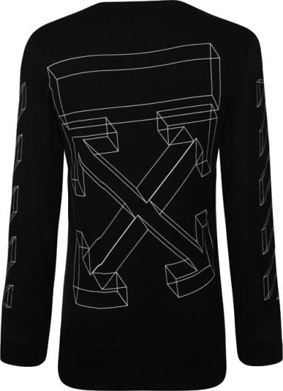 Off White Black Long Sleeve 3d Lines T Shirt