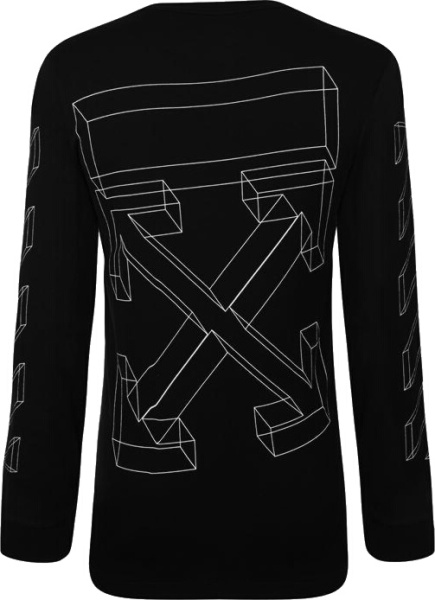 Off White Black Long Sleeve 3d Lines T Shirt