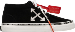 Off White Black Mid Vulcanized Sneakers